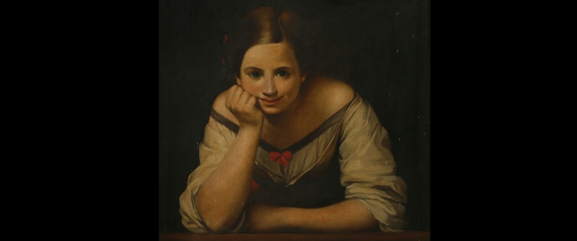 Girl Leaning on a Ledge-British (English) School