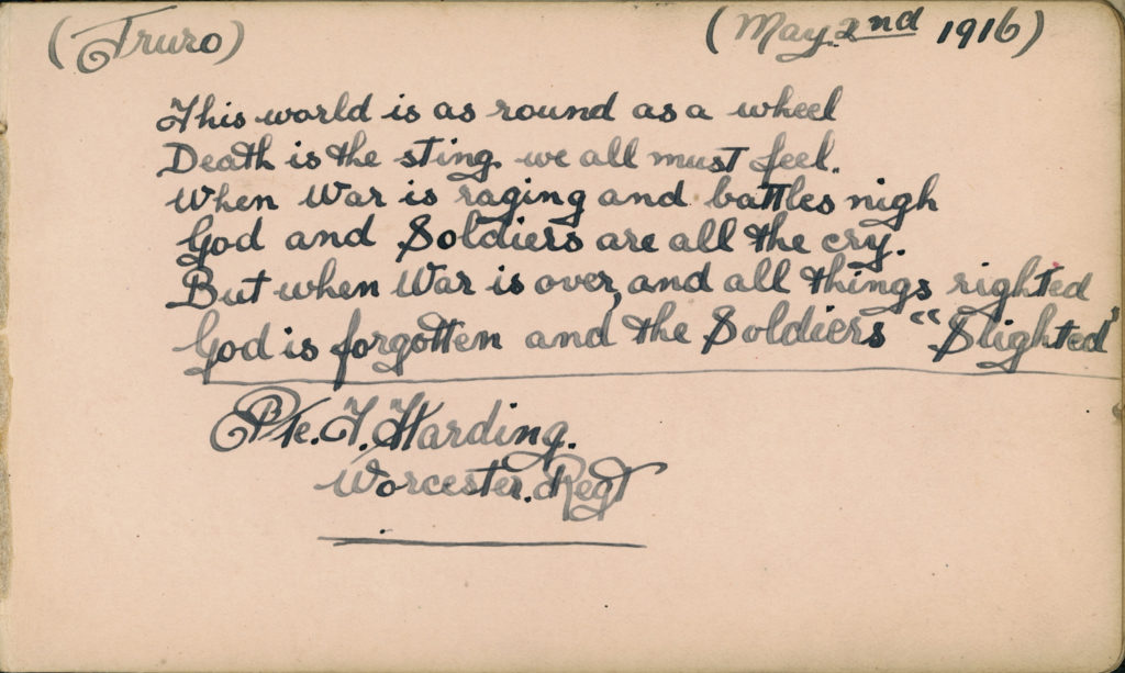 The entry of Private F Harding, of the British Army Worcester Regiment, dated May 2nd 1916, in one of the Royal Cornwall Infirmary autograph albums.© From the collection of the RIC.