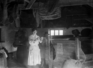 Members of the Women's Land Army pictured in a shed working a hand-operated chaff-cutter at Tregavethan Farm. Photographer: A W Jordan. © From the collection of the RIC (TRURI-1972-2-241).