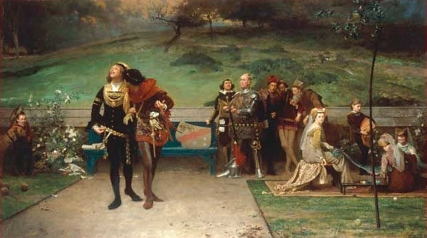 The 1872 painting 'Edward II. and his Favourite, Piers Gaveston' by Marcus Stone.
