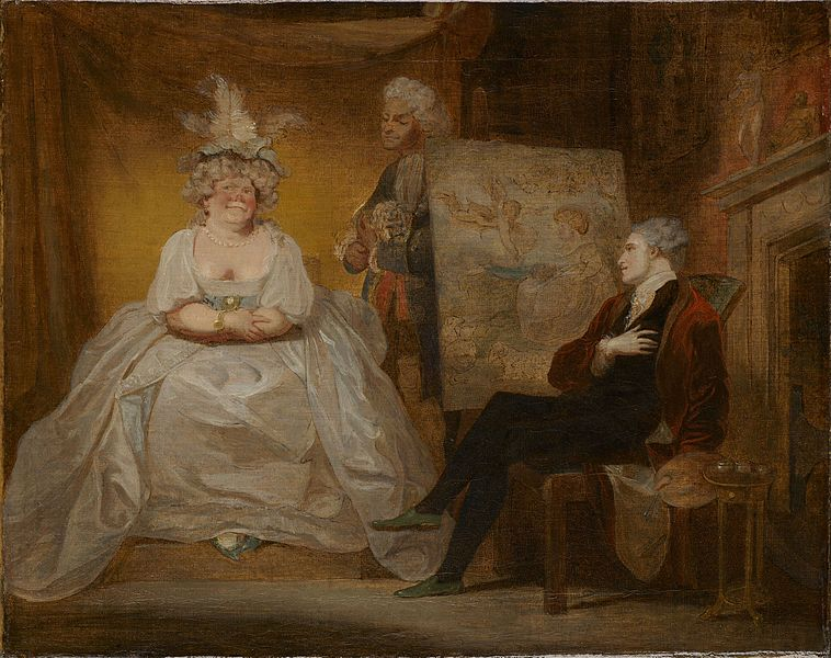 Painting of a scene from Foote's play 'Taste' by Robert Smirke (1752-1845).